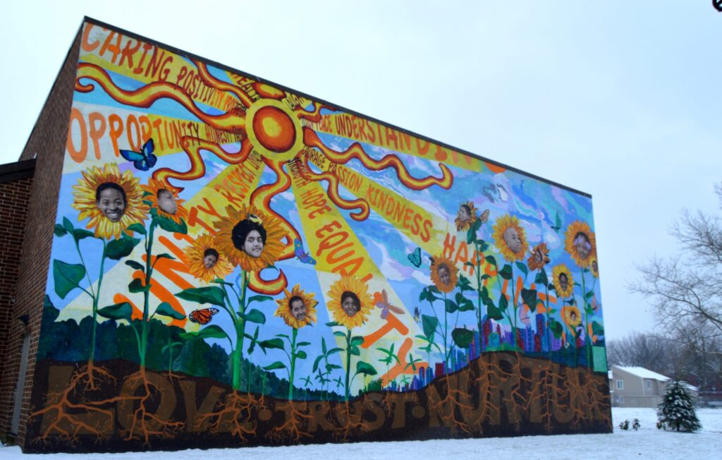 mural painted on the side of firetree place