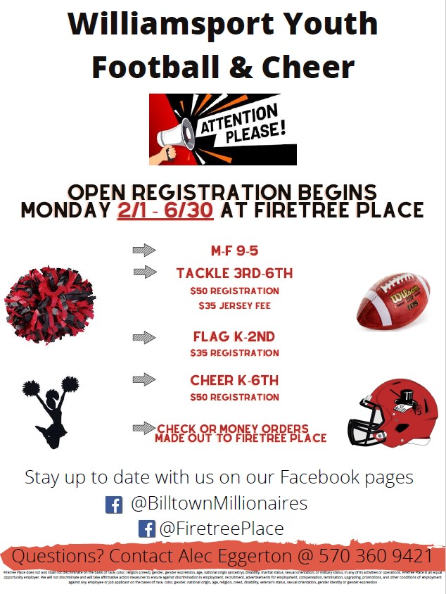 firetree place youth football and cheer flyer with event info